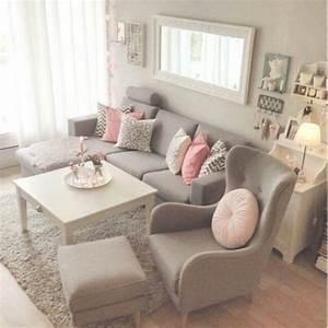 Pretty pretty grey & pink living room Home Sweet Home