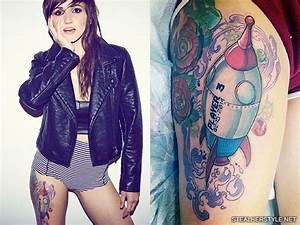 LIGHTS Poxleitner Rocketship Thigh Tattoo   Steal Her Style