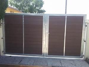 Portail En Fer Lapeyre : impressionnant portail coulissant bois exotique et portail ~ Premium-room.com Idées de Décoration