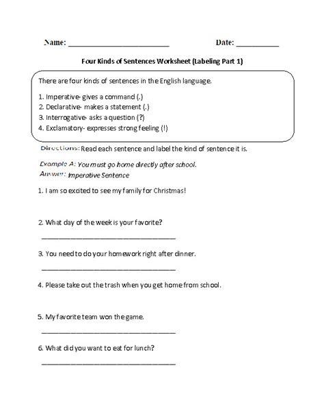 sentence types worksheet homeschooldressagecom