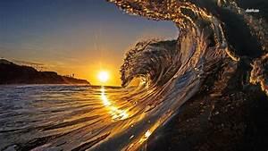 Beach Wave Sunset HD Desktop Wallpaper, Instagram photo ...