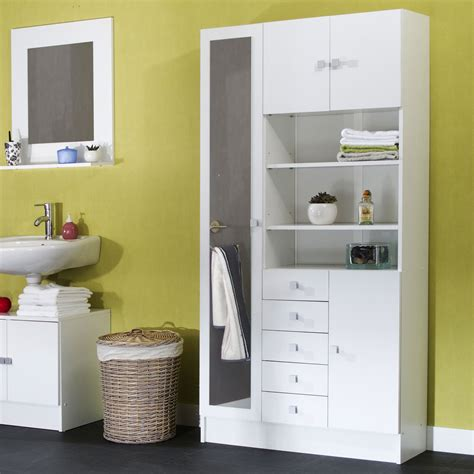 armoire avec miroir 4 portes 5 tiroirs 3 niches l90xp29 6xh181 6cm banio blanc