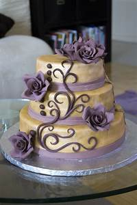 Gold And Purple Birthday Cake - CakeCentral.com