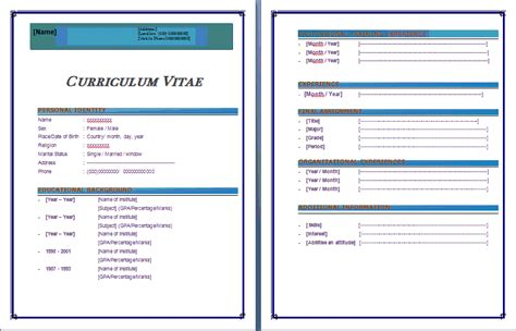 Word 2007 Resume Template by 9 Cv Format Ms Word 2007 Theorynpractice