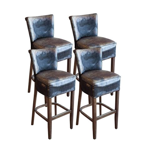 Set Of Four Midcentury Bar Stools In Cowhide At 1stdibs