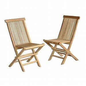 Chaise Et Fauteuil De Jardin : lot de 2 chaises de jardin pliantes en bois de teck midland bois dessus bois dessous ~ Teatrodelosmanantiales.com Idées de Décoration