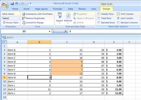 show  hide table formatting elements table format