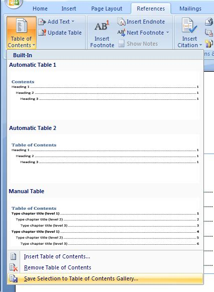 microsoft word table of contents save your table of contents style to the table of contents