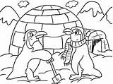 Igloo Coloring Cartoon Winter Building Penguins Themed Sheets Ultimate sketch template