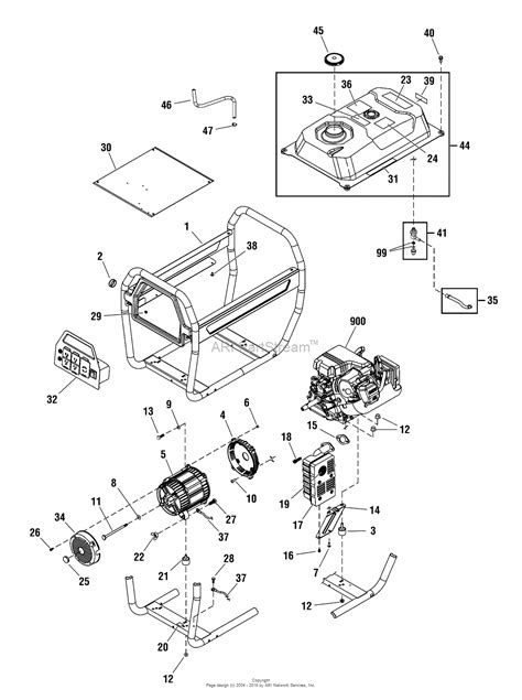briggs and stratton power products 030475 01 6 000 watt troy bilt parts diagram for unit