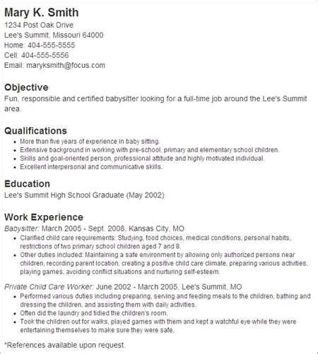 What To Put On A Resume For Babysitting by How To Put Babysitting On A Resume Template Business