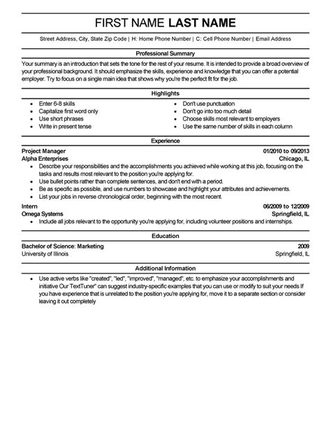 professional resume templates livecareer