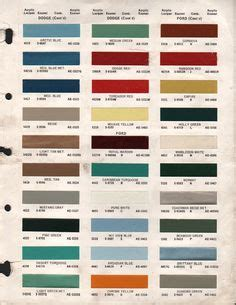 Ford Color Chart For