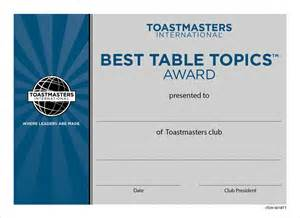Best Table Topics Toastmasters Certificate