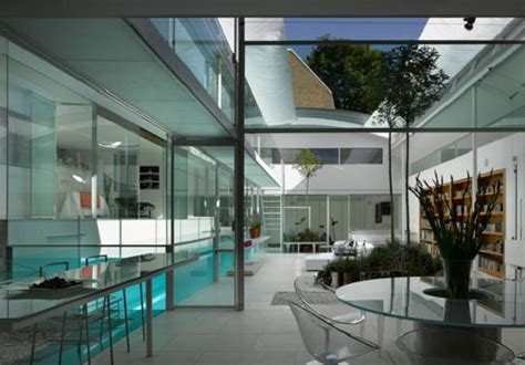 custom indoor glass swimming pool  contemporary home