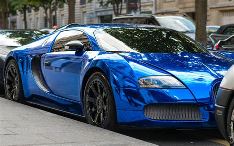 Bugatti Veyron Blue Chrome Color Parked On Road