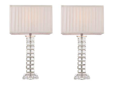 Pair Of Tall Modern Glass Table Light Bedside Lamp Lights