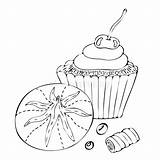 Coloring Candy Cupcake Cake Sweet Dessert Vector sketch template
