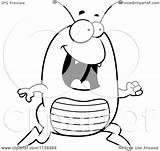 Flea Running Cartoon Happy Clipart Coloring Cory Thoman Outlined Vector Pages Royalty sketch template
