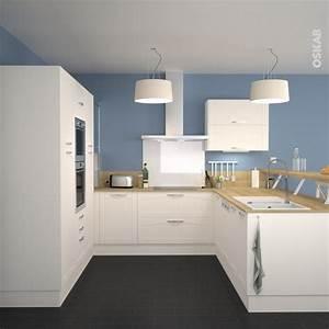 cuisine equipee ivoire bois moderne filipen ivoire mat With salle a manger couleur taupe pour petite cuisine Équipée