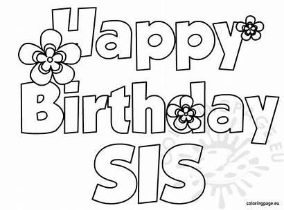 Birthday Happy Sis Coloring