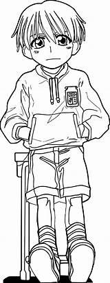 Coloring Boy Standing Manga Wecoloringpage sketch template