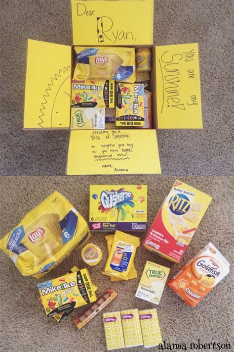 box  sunshine care package yellow themed care package
