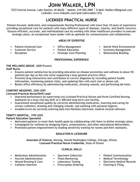 sample resume licensed practical nurse sample area of expertise and summary statements resume for