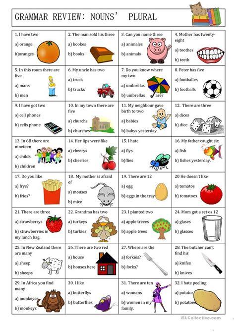 grammar review nouns plural worksheet free esl