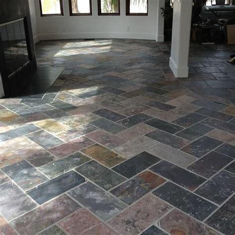 herringbone slate tile my new living room
