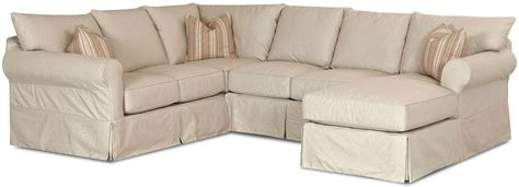 slip cover sectional sofa with right chaise by klaussner