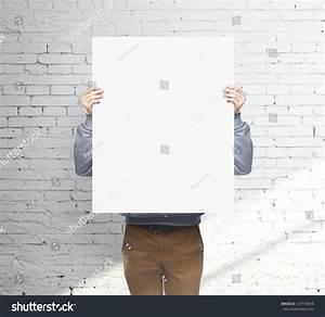 Man Holding White Blank Poster Stock Photo 129170648 ...