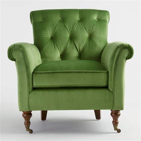 Green Armchair by Green Velvet Lyre Chesterfield Armchair