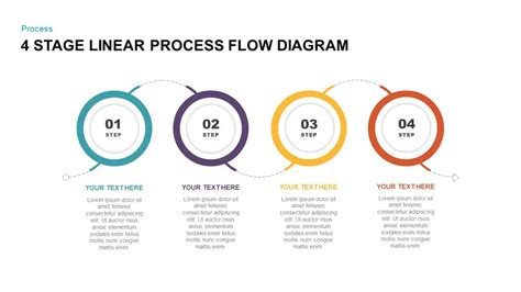 stage linear process flow diagram powerpoint template