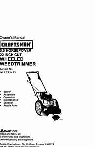 Craftsman 917773422 User Manual High Wheel Weed Trimmer