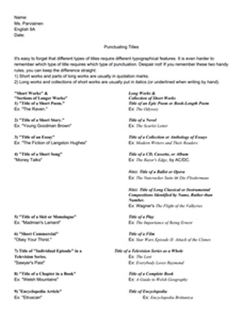 punctuating titles 8th 9th grade worksheet lesson planet