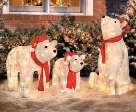 set   lighted christmas santa polar bears display