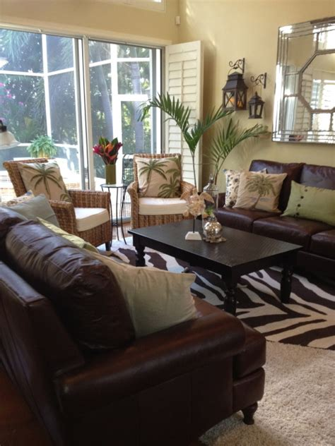 Transitional Living Room Leather Sofa by West Indies Style On Pinterest British Colonial Style