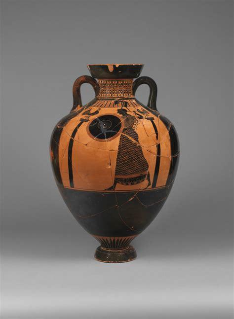 black figure panathenaic prize amphora  athena