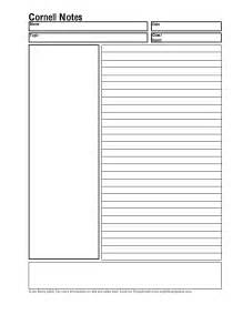 Cornell Notes Template Word