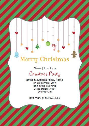 printable red green striped christmas party invitation