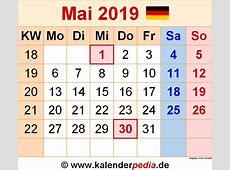 Kalender Mai 2019 als ExcelVorlagen