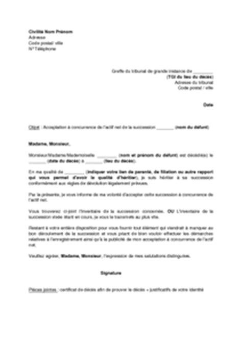 modele de lettre pour renonciation de succession exemple gratuit de lettre acceptation une succession 224