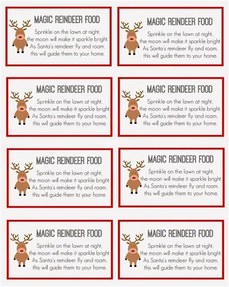 reindeer food labels template animal safe magic reindeer