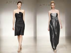 black cocktail dresses for weddings bridesmaids 39 dresses by amsale black cocktail dress and strapless metallic silver gown onewed