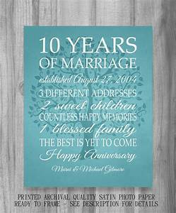 10 year anniversary gift print wedding anniversary for 10 year wedding gift