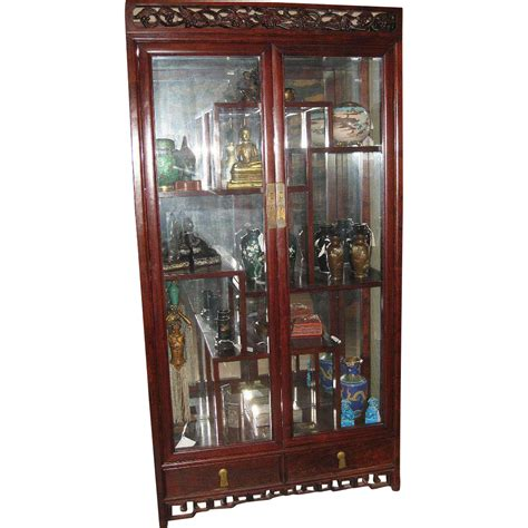 Vintage Chinese Rosewood Curio Cabinet From