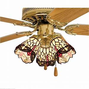 Meyda tiffany quot w scarlet dragonfly fan light shade ceiling fixture