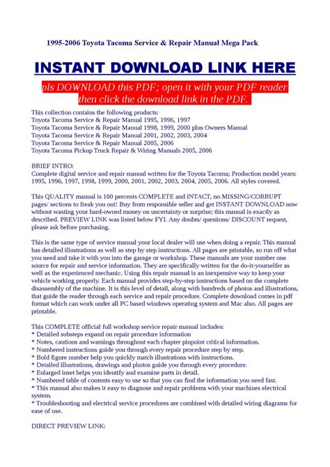 free download parts manuals 1996 toyota tacoma xtra security system 1995 2006 toyota tacoma service repair manual mega pack by dalire vorrax issuu