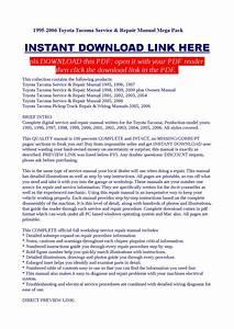 1995-2006 Toyota Tacoma Service  U0026 Repair Manual Mega Pack By Dalire Vorrax